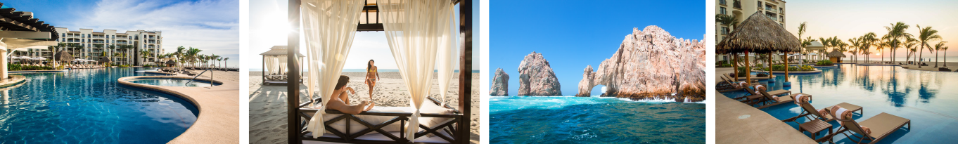 collage of hotel pools and beaches